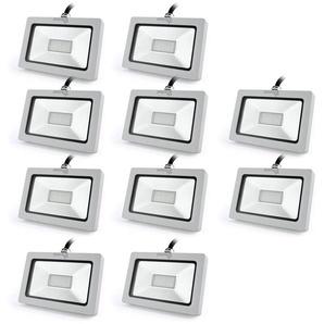10×Auralum Projecteur à LED 10W Ultraléger pour Éclairage Extérieur et Intérieur Spot IP65 Haute Luminosité 750LM SMD 3030 Blanc Froid 6000K