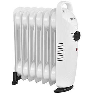 [pro.tec] Radiateur à Bain dHuile 700 W 230 V Thermostat Réglable 31,5 x 13,4 x 37 cm Silencieux Polypropylène Acier Blanc