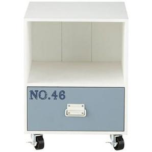 Table de chevet en pin blanc et bleu imprimé Marin