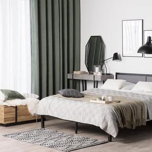Lit en métal noir avec tête de lit grise 160 x 200 cm CLAMART