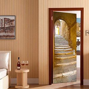 Autocollant de porte 3D amovible Rocwart (77x 200cm) en vinyle décoration pour le salon ou la chambre