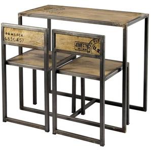 Table à manger et 2 chaises en manguier et métal L90 Manufacture