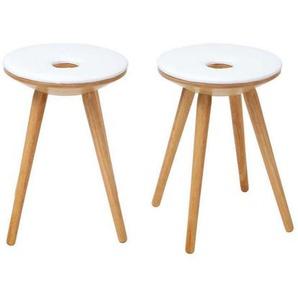 Tabourets dappoint design bois naturel et blanc (lot de 2) NORDECO