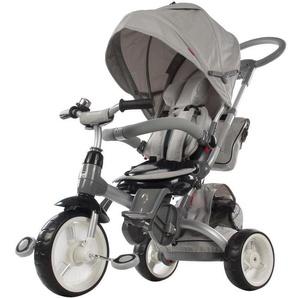 LITTLE TIGER | Tricycle enfant Vélo Evolutif Multifonctionnel & Siège Pivotant | Tige Directionnelle + pare soleil | Gris - SUN BABY