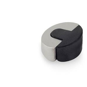 Adhésif pour butée de porte de marque REI, en acier inoxydable, avec finition en acier inoxydable mat et forme elliptique