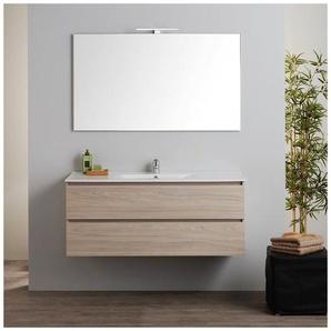 Armoire De Toilette Murale Avec Lavabo Intégré Et Miroir Série Berlin 120 Cm - KIAMAMI VALENTINA
