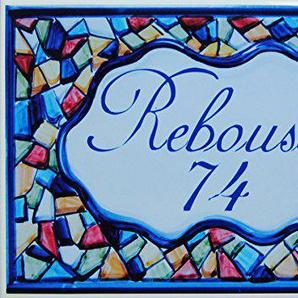 AzulDecor35 Plaque de Rue Céramique avec Nom de famille, Nom de villa. personnalisé - Choisissez votre texte - 20x30X0,8cm