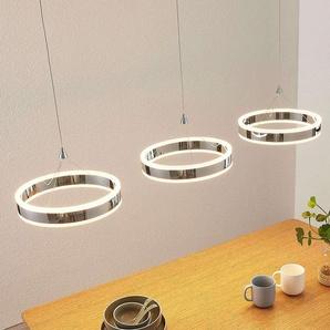 Suspension LED Lyani, 3 anneaux alignés