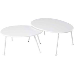 Tables gigognes de jardin en métal blanc Lumpa