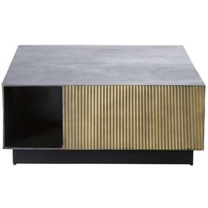 Table basse en métal ondulé coloris laiton et noir Rockefeller