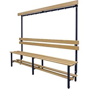 Banc pour vestiaires avec lattes en bois et rangée de patères - avec grille pour chaussures, simple face, longueur 2000 - CERTEO