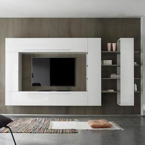 Ensemble meuble TV blanc laqué et chêne gris contemporain FILIPA