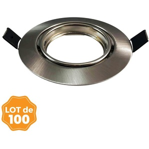 Lot de 100 Supports spot orientable Inox , Diametre 90mm trou de perçage 65mm - EUROPALAMP