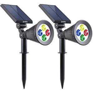 LUMISKY Pack de 2 Spots solaires extérieur étanches - 4 LEDs colorées - 200 Lm - Tête pivotante à 90°C