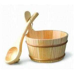 Kit seau et louche en bois pour sauna 4 litres - DESINEO