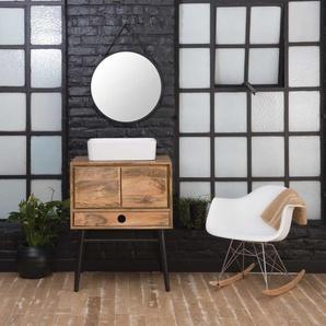 Meuble salle de bain bois massif et métal style scandinave 1 vasque