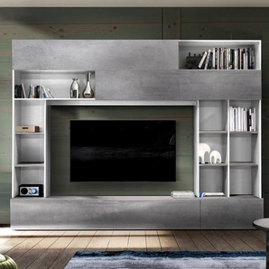 Mur TV design gris effet béton et blanc PERDITA