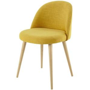 Chaise vintage jaune et bouleau massif Mauricette