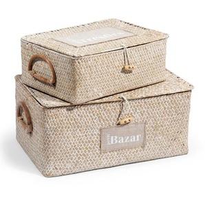 2 boîtes en fibre végétale H 9 cm et H 14 cm ETIQUETTE