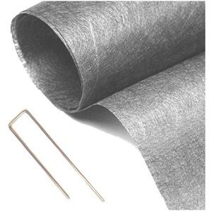 Pack MGS géotextile 90grs gris 2Mx25M soit 50M2 + 10 packs de 10 Hooks - MON GAZON SYNTHÉTI