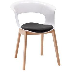 Chaise design avec pieds bois - NATURAL MISS B Antishock avec coussin - déco originale
