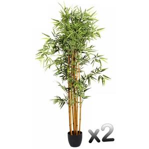 Lot de 2 plantes artificielles Bambou Pot Hauteur 180 cm - PEGANE