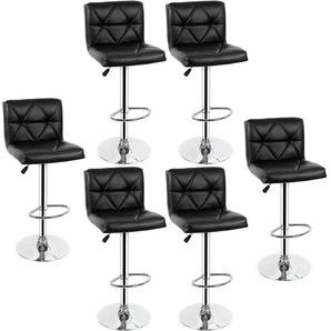 LOT DE 6 NOIR Chaises de Bar Chaises en Similicuir Réglable et Adjustable pour Bar - OOBEST