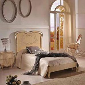 Dafnedesign.COM - Chambre complète Style Classique - Bois laqué Blanc (lit, Armoire et Chevet)