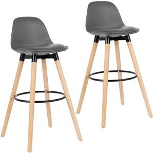 Lot de 2 tabourets de bar - Simili gris - Pieds en bois hêtre massif - Style scandinave - L 39,5 x P 44 cm - OOBEST