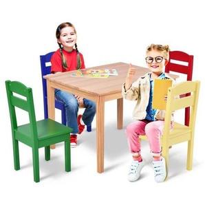 COSTWAY Ensemble Table et 2 Chaises Enfant en MDF Meuble Bureau pour Enfants avec Images Animaux