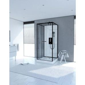 Cabine de douche carrée 80x80x230cm - extra blanc et profilé noir mat - LUNAR SQUARE 80 - AURLANE