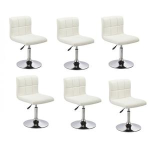 Lot de 6 chaises de salle à manger / cuisine simili-cuir blanc hauteur réglable - DéCOSHOP26