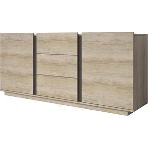 Buffet bois mélaminé frêne clair 2 portes 3 tiroirs 2 étagères