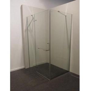 Royal Plaza Barra Porte pivotante 119x200cm avec paroi fixe, profilé chrome et verre clair avec Clean Coating 18614