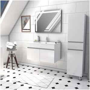 Ensemble Meuble de salle de bain blanc 60cm suspendu a portes + vasque ceramique blanche + miroir led integree + meuble colonne sur pied - STARTED pack 46 - AURLANE