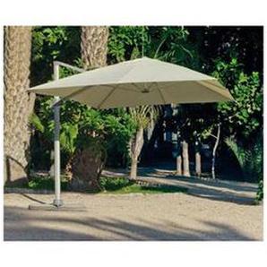 Grand Parasol De Jardin DERBY en ALUMINIUM MAT GRIS CLAIR Toile BEIGE - HEVEA