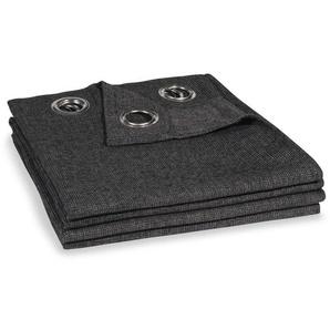 Rideau à illets gris carbone à lunité 140x300
