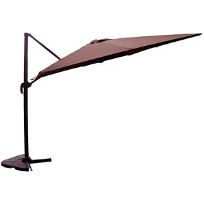 Palatino chocolat : Parasol déporté, carré de 3x3m, rotatif à 360°