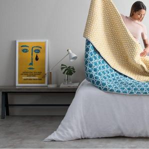 Agadir, couvre-lit, bleu canard et jaune safran - Couvre-lits et plaids - Linge de maison