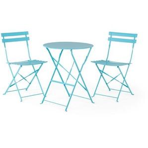 Ensemble table et 2 chaises de jardin en acier bleu FIORI