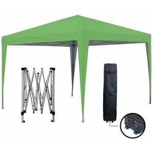 Tonnelle de jardin verte 3x3m ECO BRISO Tube 30mm en aluminium & acier Bâche 420D étanche Tente pliante de réception + Sac de transport - GREADEN