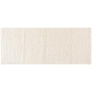 Tapis en laine et coton écru motifs graphiques 80x200