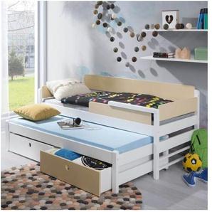 Lit gigogne Natu blanc et vanille - 70 cm x 160 cm