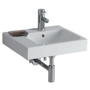 Geberit iCon lavabo 50x48,5cm blanc, 124150 avec cuvette décorative à gauche, Coloris: Blanc, avec KeraTect - 124150600