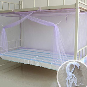 Tina Facile à Monter Moustiquaire,Folding Aucun Produit Chimique ajouté 1 Entrées Moustiquaire de lit Dortoir étudiant Accueil-Violet 90x190cm(35x75inch)