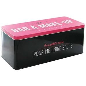 Boîte en Métal Bar à Make Up - 27,7x12,5x11,6 cm - Noir et rose foncé