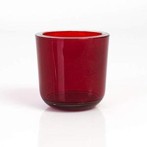INNA Glas Lot 3 x Bougeoir/Photophore en Verre Nick, Rouge-Transparent, 8 cm, Ø 8 cm - 3 pcs Photophore Rond/Verre à Bougie