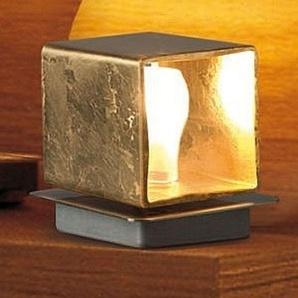 Lampe à poser Cube dorée à la feuille