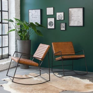 Rocking-chair industriel marron - métal