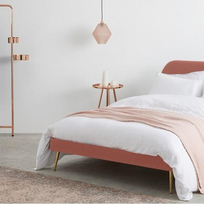 Eulia, lit super king size (180 x 200) avec sommier, velours rose blush